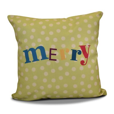 Merry Christmas  Decorative Holiday Word Print Throw Pillow Size: 26 H x 26 W, Color: Green