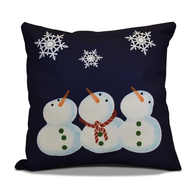 Decorative Snowmen Geometric Print Throw Pillow Size: 26 H x 26 W, Color: Navy Blue