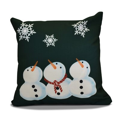 Decorative Snowmen Geometric Print Throw Pillow Size: 16 H x 16 W, Color: Dark Green