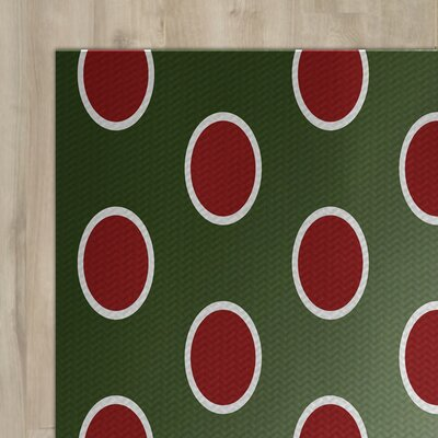 Green Polka Dot Indoor/Outdoor Area Rug Rug Size: 3 x 5
