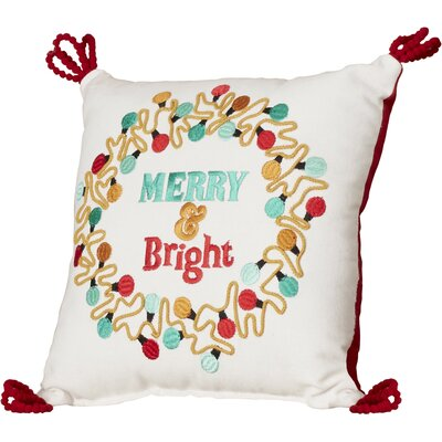 Christmas Lights Wreath 100% Cotton Throw Pillow