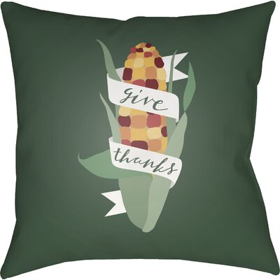 Give Thanks Indoor/Outdoor Throw Pillow Size: 20 H x 20 W x 4 D, Color: Green/White/Red/Yellow