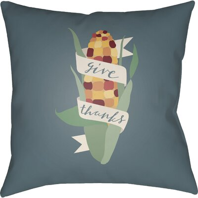 Give Thanks Indoor/Outdoor Throw Pillow Size: 18 H x 18 W x 4 D, Color: Blue/Green/Red/Yellow