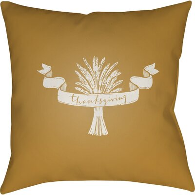 Thanksgiving Indoor/Outdoor Throw Pillow Size: 18 H x 18 W x 4 D, Color: Yellow/White