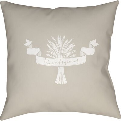 Thanksgiving Indoor/Outdoor Throw Pillow Size: 18 H x 18 W x 4 D, Color: Red/White