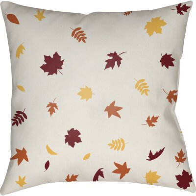 Falling Leaves Indoor/Outdoor Throw Pillow Size: 18 H x 18 W x 4 D, Color: White/Red/Yellow