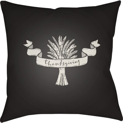 Thanksgiving Indoor/Outdoor Throw Pillow Size: 18 H x 18 W x 4 D, Color: Black/White