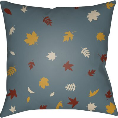 Falling Leaves Indoor/Outdoor Throw Pillow Size: 18 H x 18 W x 4 D, Color: Blue/Yellow/White