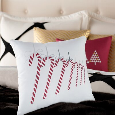 Candy Canes Throw Pillow Size: 16 H x 16 W, Color: Gray