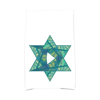 Hannukah Star Mosaic Hand Towel Color: Teal