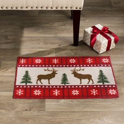 Reindeer Red Area Rug
