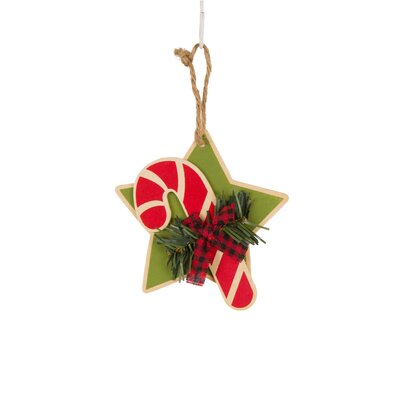 Wooden Star/Candy Cane Hanging Ornament