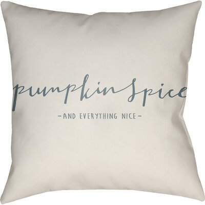 Pumpkin Spice Indoor/Outdoor Throw Pillow Size: 18 H x 18 W x 4 D, Color: White/Green