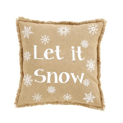 Snowflake Let It Snow Cotton Throw Pillow