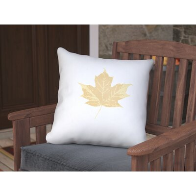 Maple Leaf Indoor/Outdoor Pillow Size: 18 H x 18 W x 4 D, Color: White/Yellow