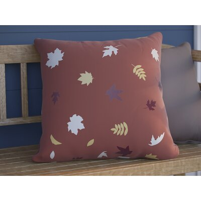 Falling Leaves Indoor/Outdoor Throw Pillow Size: 18 H x 18 W x 4 D, Color: Red/White/Yellow