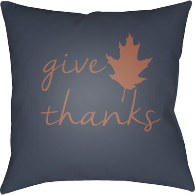 Thanksgiving Indoor/Outdoor Throw Pillow Color: Navy/Orange, Size: 20 H x 20 W x 4 D