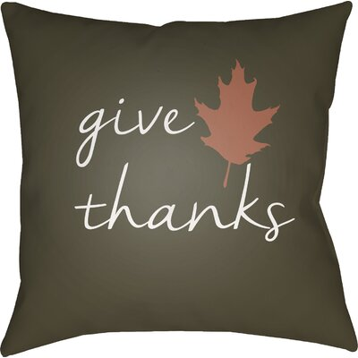 Thanksgiving Indoor/Outdoor Throw Pillow Size: 18 H x 18 W x 4 D, Color: Brown/White