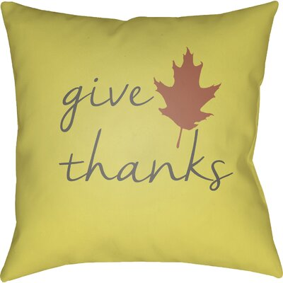Thanksgiving Indoor/Outdoor Throw Pillow Size: 20 H x 20 W x 4 D, Color: Yellow/Gray/Brown