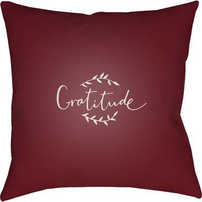 Gratitude Indoor/Outdoor Throw Pillow Size: 18 H x 18 W x 4 D, Color: Red/White