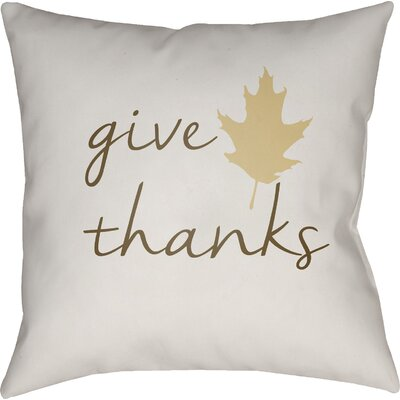 Thanksgiving Indoor/Outdoor Throw Pillow Size: 20 H x 20 W x 4 D, Color: White/Brown/Beige