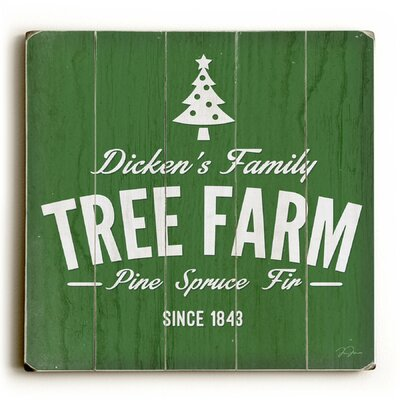 Dicken's Tree Farm Green Wooden Wall Décor Size: 13x13