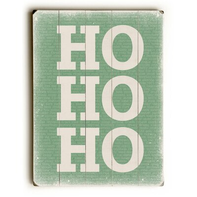 Ho Ho Ho on Green Green Wooden Wall Décor