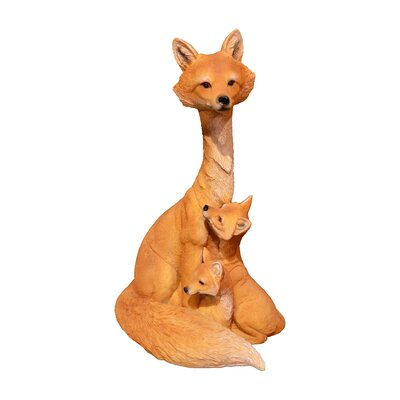 Fox Family Brown Figurine