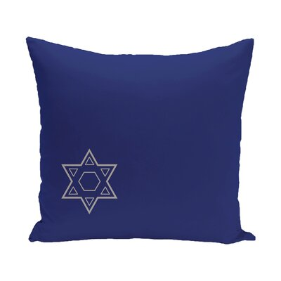 Holiday Geometric Print Star of David Throw Pillow Size: 18 H x 18 W, Color: Blue/Grey