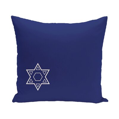 Holiday Geometric Print Star of David Throw Pillow Size: 18 H x 18 W, Color: Blue/White