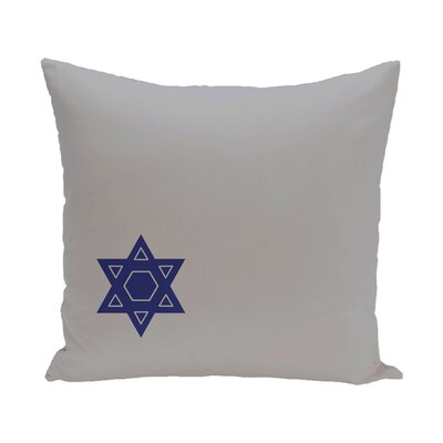 Holiday Geometric Print Star of David Throw Pillow Size: 16 H x 16 W, Color: Grey