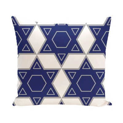 Star of David Quilt Throw Pillow Color: White/Blue, Size: 16 H x 16 W