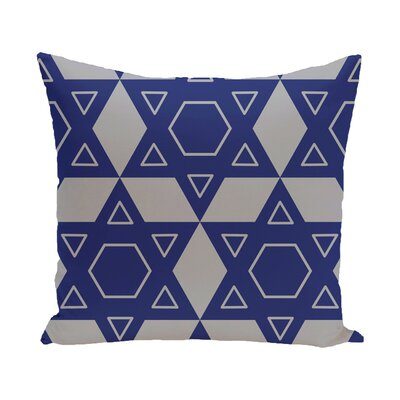 Star of David Quilt Throw Pillow Size: 16 H x 16 W, Color: Grey/Blue