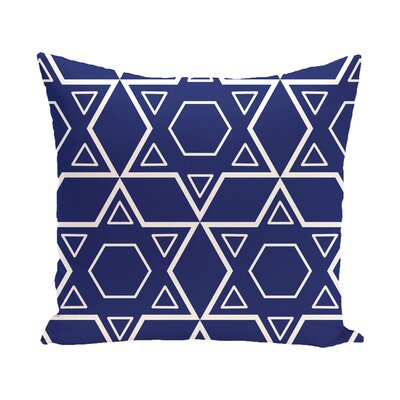 Star of David Quilt Throw Pillow Size: 16 H x 16 W, Color: Blue