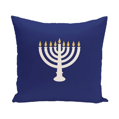 Holiday Geometric Print Light The Menorah Throw Pillow Color: Blue, Size: 20 H x 20 W