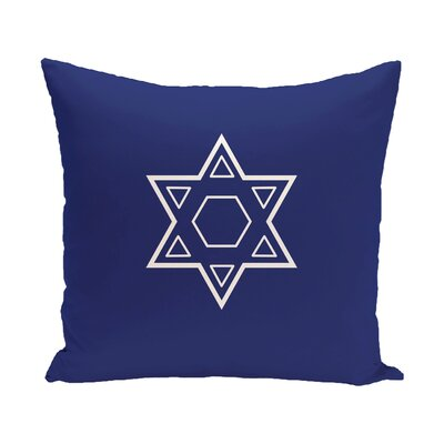 Star of David Throw Pillow Size: 16 H x 16 W, Color: Blue