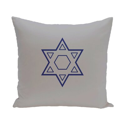 Star of David Throw Pillow Size: 18 H x 18 W, Color: Grey / Blue