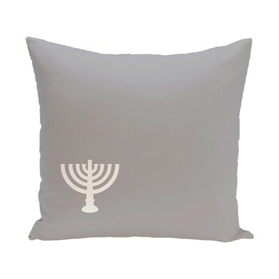 Holiday Geometric Print Menorah Minor Throw Pillow Size: 20 H x 20 W, Color: Grey