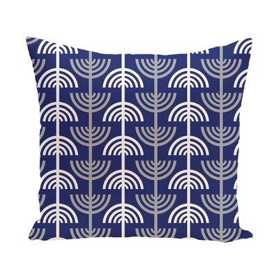 Holiday Geometric Print Menorah Abstract Throw Pillow Size: 16 H x 16 W, Color: Blue