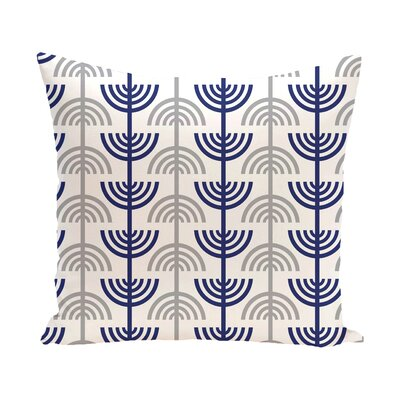 Holiday Geometric Print Menorah Abstract Throw Pillow Size: 16 H x 16 W, Color: White