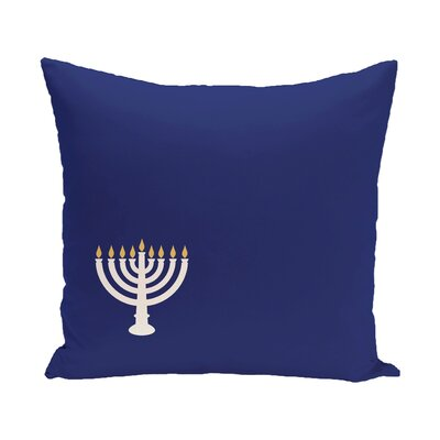 Holiday Geometric Print Eight Days of Light Throw Pillow Size: 18 H x 18 W, Color: Blue