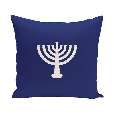 Holiday Geometric Print Menorah Major Throw Pillow Color: Blue, Size: 18 H x 18 W