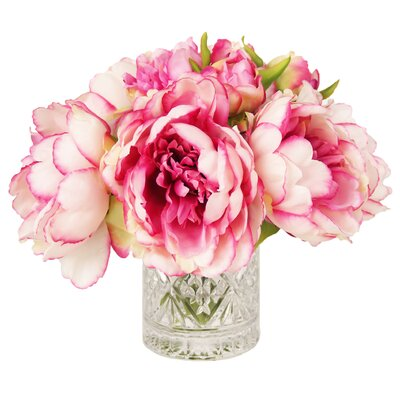 Pink & White Peony in Acrylic Water Vase