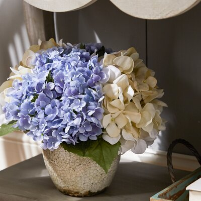 Cream & Blue Hydrangea in Pottery Planter