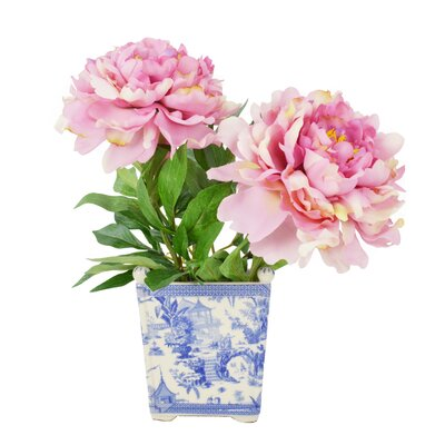 Pink Peony in Chinoiserie Planter