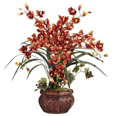 Silk Cymbidium in Decorative Vase