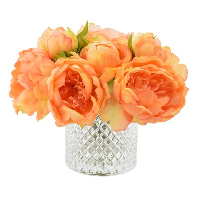 Lush Peony Bouquet in Diamond Etched Glass Vase