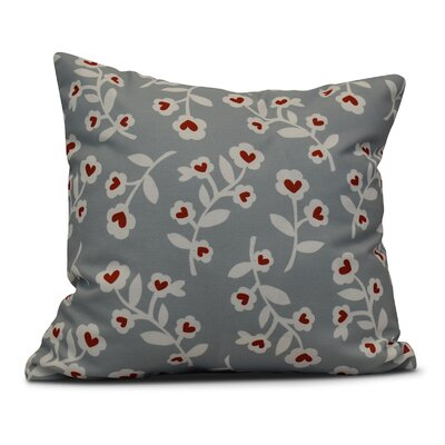 Valentines Floral Indoor/Outdoor Throw Pillow Size: 16 H x 16 W, Color: Gray