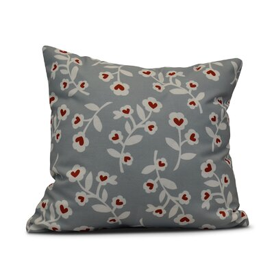 Valentines Floral Throw Pillow Size: 26 H x 26 W, Color: Gray
