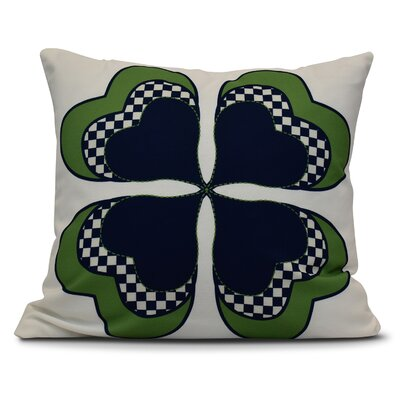 Funky Junky Leaf Clover Throw Pillow Size: 16 H x 16 W, Color: Navy Blue